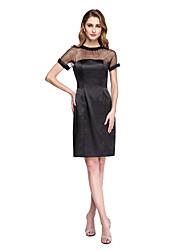 LAN TING BRIDE Sheath / Column Mother of the Bride Dress - Little Black Dress See Through Knee-length Short Sleeve Tulle Stretch Satin