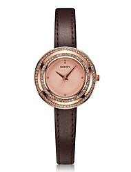 Women's Fashion Watch Quartz Water Resistant / Water Proof Genuine Leather Band Casual Brown