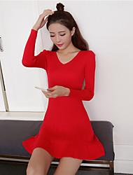 unterzeichnen im Herbst 2016 neue koreanische v-neck Kleid Temperament dünnen dünnen Pakethüfterock Aufsitzen