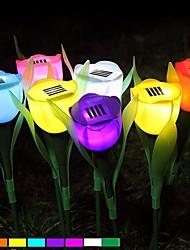 romântico gramado ao ar livre pátio do jardim de energia solar luz flor tulipa potência lâmpada LED cor aleatória
