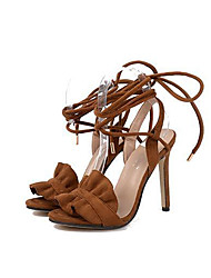 Women's Heels Spring Summer Fall Comfort Fabric Party & Evening Dress Stiletto Heel Lace-up Brown Orange