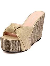Damen-Sandalen-Kleid Lässig-Leinen-Keilabsatz Creepers-Komfort-Gelb Grün