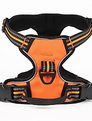 Dog Harness Adjustable/Retractable Solid Black Green Orange Nylon