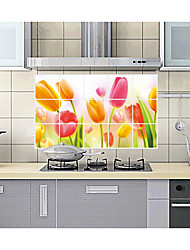 Tulip Flowers Kitchen Ceramic Tile To Stick Wall Prevent Oil Stickers