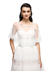 Women's Wrap Ponchos Tulle Wedding Party/Evening Flower(s) Lace Rhinestone