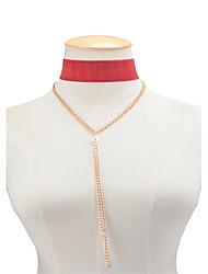 Femme Collier court /Ras-du-cou Collier Y Obsidienne Forme Géométrique Imitation de perle TissuPendant Imitation de perle Mode