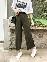 2017 real shot was thin loose pleated trousers elastic waist wide leg casual straight jeans pantyhose