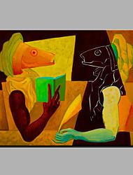 Peint à la main Abstrait Bande dessinée Horizontale,Moderne Un Panneau Toile Peinture à l'huile Hang-peint For Décoration d'intérieur