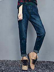 signe large pantalon Halun chanson nouveau jeans pantalons femme taille élastique cordonnet de mode printemps pantalon effondrement marée