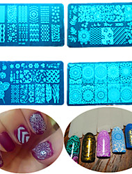 8pcs / set vente chaude outil de beauté manucure plaque pochoirs estampage mode diy ongles conception douce coloré estampage en acier