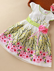 Girl's Holiday Floral Dress,Polyester Summer Short Sleeve