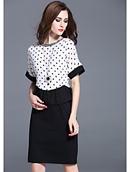 Signer l'été nouvelle femme robe sub ol jupe costume ladies wave point emballage d'impression hip noir et blanc