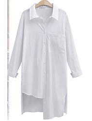 Große Frauen&# 39; s europäischen Bein der großen Wind Persönlichkeit unregelmäßigen Saum lange Absatz Langarm-Shirt