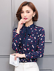 Women's Casual/Daily Simple Blouse,Floral Round Neck Long Sleeve Polyester Thin