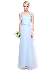 gaine / colonne v-col longueur du sol tulle robe de demoiselle d'honneur avec des détails en cristal par yaying