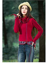2016 Herbst nationaler Wind retro hohe Kragen Pullover Frauen&# 39; s T-Shirt von dünnem erheblich Blumenstickerei Blusenhemd