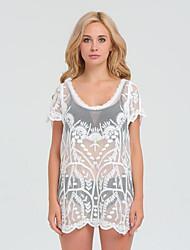 Damen Solide Street Schick Lässig/Alltäglich T-shirt,Rundhalsausschnitt Sommer Kurzarm Polyester Lichtdurchlässig