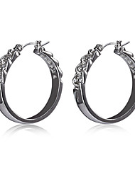 Fashion Alloy Chain Effect Hoop Earrings for Women and Girls