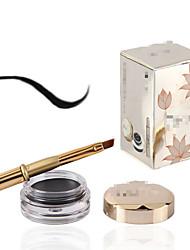 1Pcs Waterproof Eyeliner Cream Black Long-Lasting Eye Liner With Brush 4G Lotus Series Makeup Brand Efu