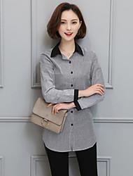 Feminino de mangas compridas camisa listrada frouxa fã coreano chunqiu 2016 nova onda de jardas grande seção longa camisa casual 988 672