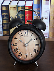 Vintage 3D Metal Jow Alarm Clock Double Bell Desk Clocks Twin Ring Clock Home Office Mute Night Light Clock