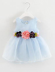 Girl's Holiday Solid Floral Dress,Cotton Summer Sleeveless