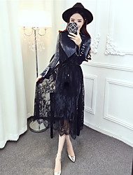 signent un nouvel hiver version coréenne de velours or trompette robe en dentelle à manches mince robe en deux parties