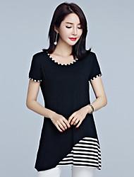 Damen Gestreift Einfach Lässig/Alltäglich Übergröße T-shirt,Rundhalsausschnitt Sommer Kurzarm Baumwolle Mittel