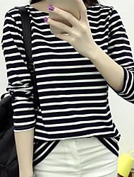 place 2017 nouveau coton shirt loose col t-shirt rayé à manches longues blouse