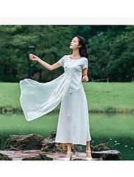 Damen Swing Kleid-Ausgehen Solide Blumen Rundhalsausschnitt Maxi Kurzarm Seide Sommer Mittlere Hüfthöhe Mikro-elastisch Dünn