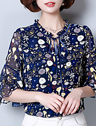 Women's Work Simple Sophisticated Blouse,Print Stand ¾ Sleeve Rayon Polyester