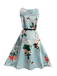 Girl's Print Dress,Polyester Spring Summer Sleeveless