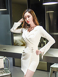 2017 autumn and winter new Korean Women Slim thin V-neck long-sleeved irregular cross-dress