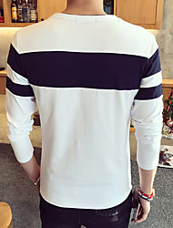 Printed round neck long-sleeved suit tide male spell color long-sleeved T-shirt Cafe