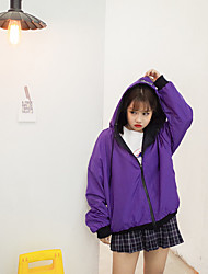 2017 students loose big yards letters printed on both sides wear candy-colored hooded windbreaker jacket female short paragraph