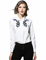 Casual/Daily Work Chinoiserie Spring Summer Shirt,Embroidered Shirt Collar Long Sleeve White Cotton Medium