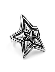 Punk Vintage Stainless Steel Rings Men's and Womens 31mm/1.22inch Large Star Ring Rock Accessories Biker Jewelry USA Size 7-12#