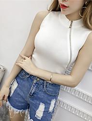 2017 Korean real shot knit vest zipper Slim was thin shirt