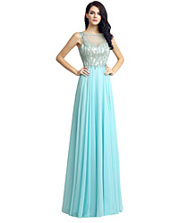 Sheath / Column Jewel Neck Floor Length Chiffon Formal Evening Dress with Beading