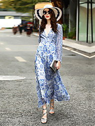 Women's Going out Casual/Daily Loose Dress,Floral V Neck Maxi Long Sleeve Polyester Spring Summer Mid Rise Inelastic Medium