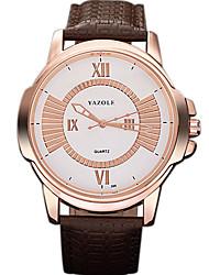 YAZOLE Masculino Relógio Elegante Relógio de Moda Relógio Casual Relógio de Pulso Chinês Quartzo PU Banda Legal Casual CriativoPreta