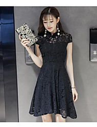 Really making 2017 spring and summer new Korean temperament short-sleeved collar lace cheongsam dress Slim A word skirt
