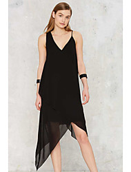 Asymmetrical chiffon dress sling