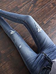 signe printemps 2017 nouvelles femmes pieds jeans trou au genou haute taille pantalons collants grande taille