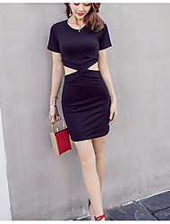 Signe luyao 2017 noir à manches courtes robe d'été femme pack sexy mince slim était mince petite robe noire