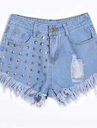 Feminino Simples Cintura Alta Micro-Elástico Jeans Calças,Reto Cor Única,rasgado Taxas