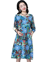 signer 2017 nouvelles femmes de grande taille&# 39; vent national col rond en coton à manches longues robe