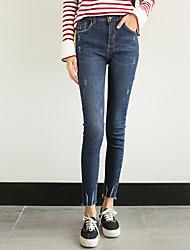 подписать корейскую версию сказочные воды цвета тонкий стрейч рваные края изношены джинсовые брюки ноги колготки