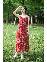 Women's Going out Simple Loose Dress,Floral Strap Maxi Sleeveless Rayon Summer Low Rise Inelastic Thin