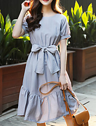 Women's Going out Casual/Daily Work Vintage Street chic Sophisticated Trumpet/Mermaid Dress,Solid Round Neck Knee-length Short Sleeve